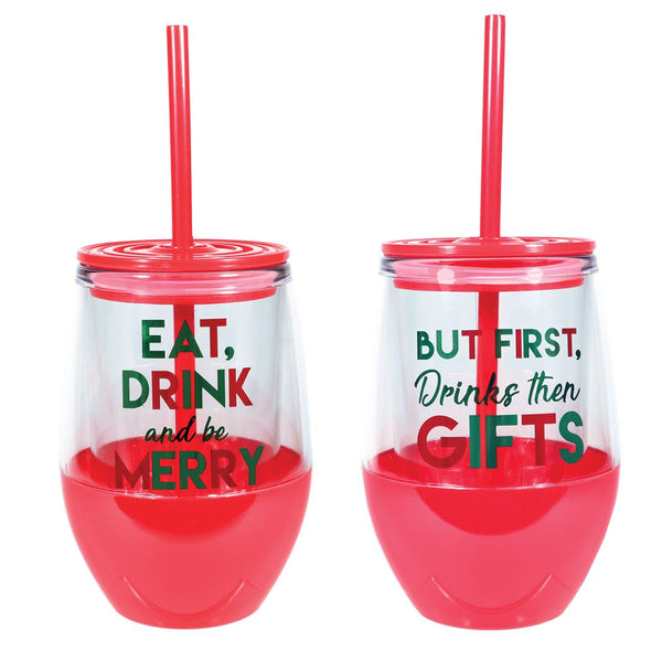 Merry and Bright Insulated Stemless Wine Glass