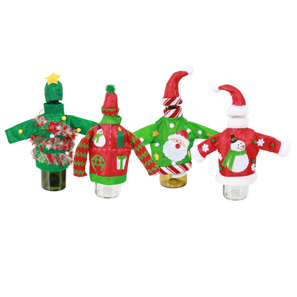 Ugly Sweater & Hat Wine Bottle Covers