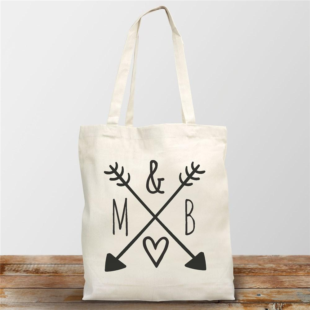 Personalized Arrows & Initials Canvas Tote - Valentine's Day Gift