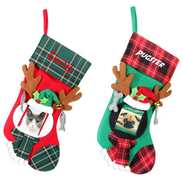 Personalized Pet Photo Stockings - Plaid & Jingle Bells