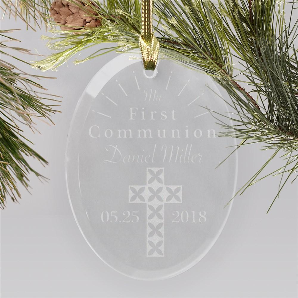 Personalized Engraved First Communion Cross Ornament
