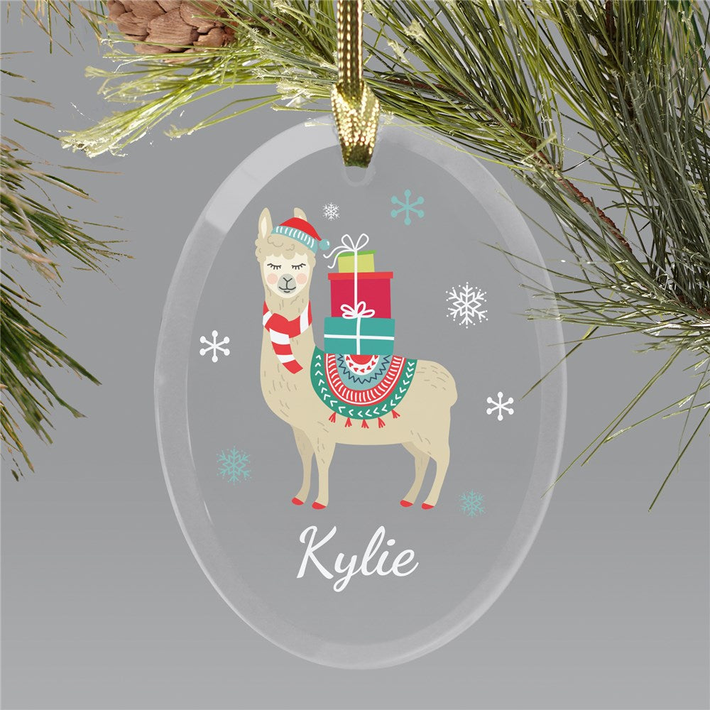 Personalized Christmas Llama Glass Ornament