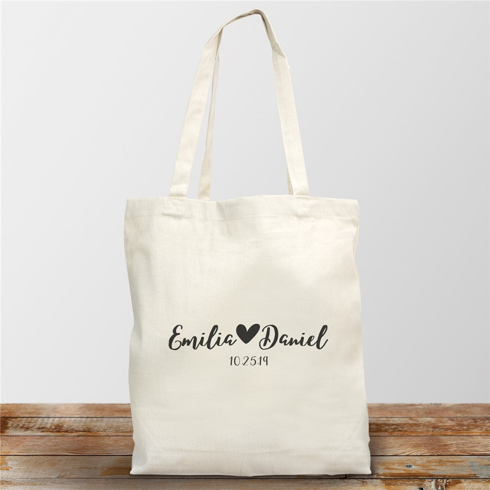 Personalized Couples Names With Heart Canvas Tote - Valentine's Day Gift