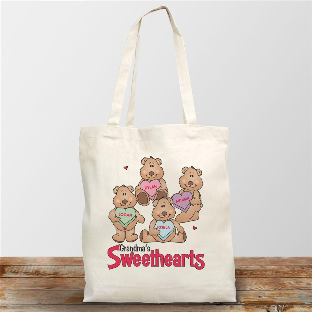 Personalized Canvas Candy Sweetheart Bears Valentine Tote Bag - Valentine's Day Gift