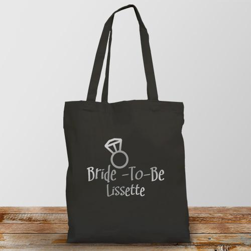 Personalized Bride-To-Be Personalized Black Tote Bag