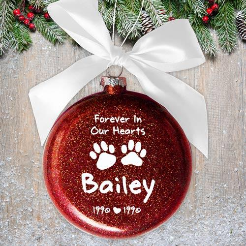 Personalized Forever In Our Hearts Paw Print Glass Ornament