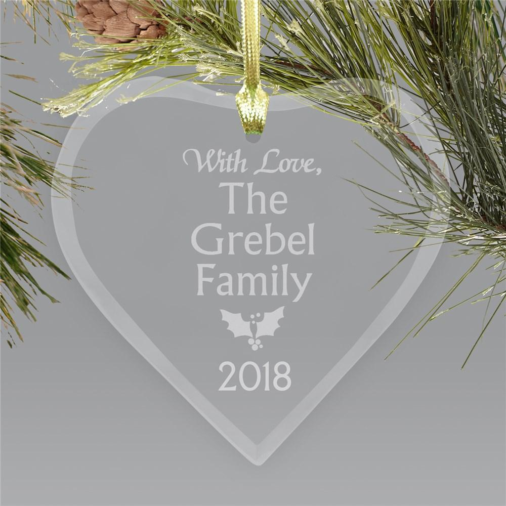 Personalized Family Glass Heart Christmas Ornament
