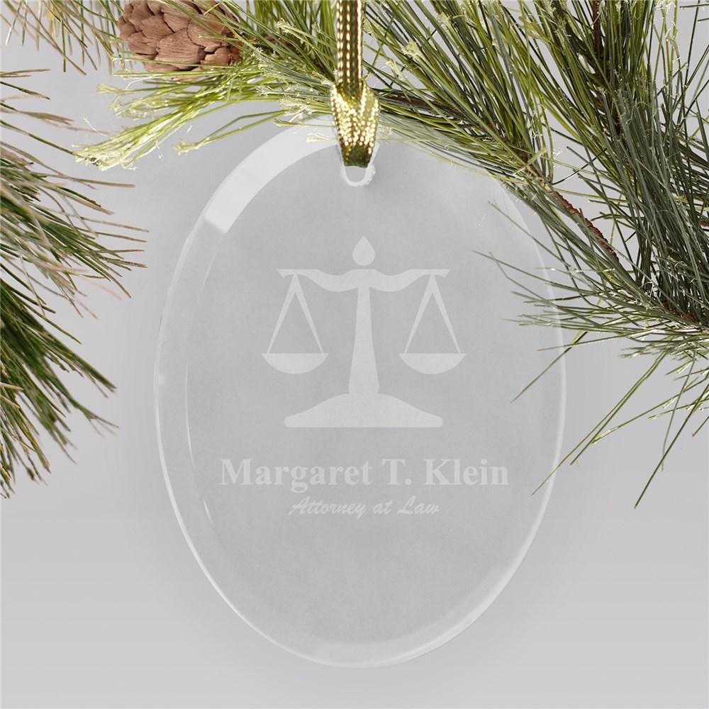 Personalized Lawyer Engraved Oval Glass Christmas Ornament