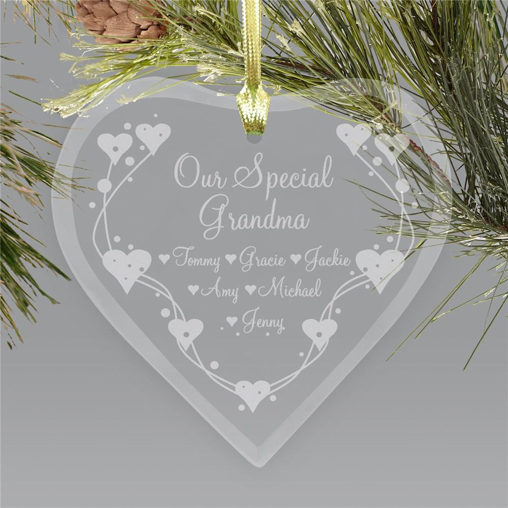 Personalized Grandma Heart Glass Holiday Ornament