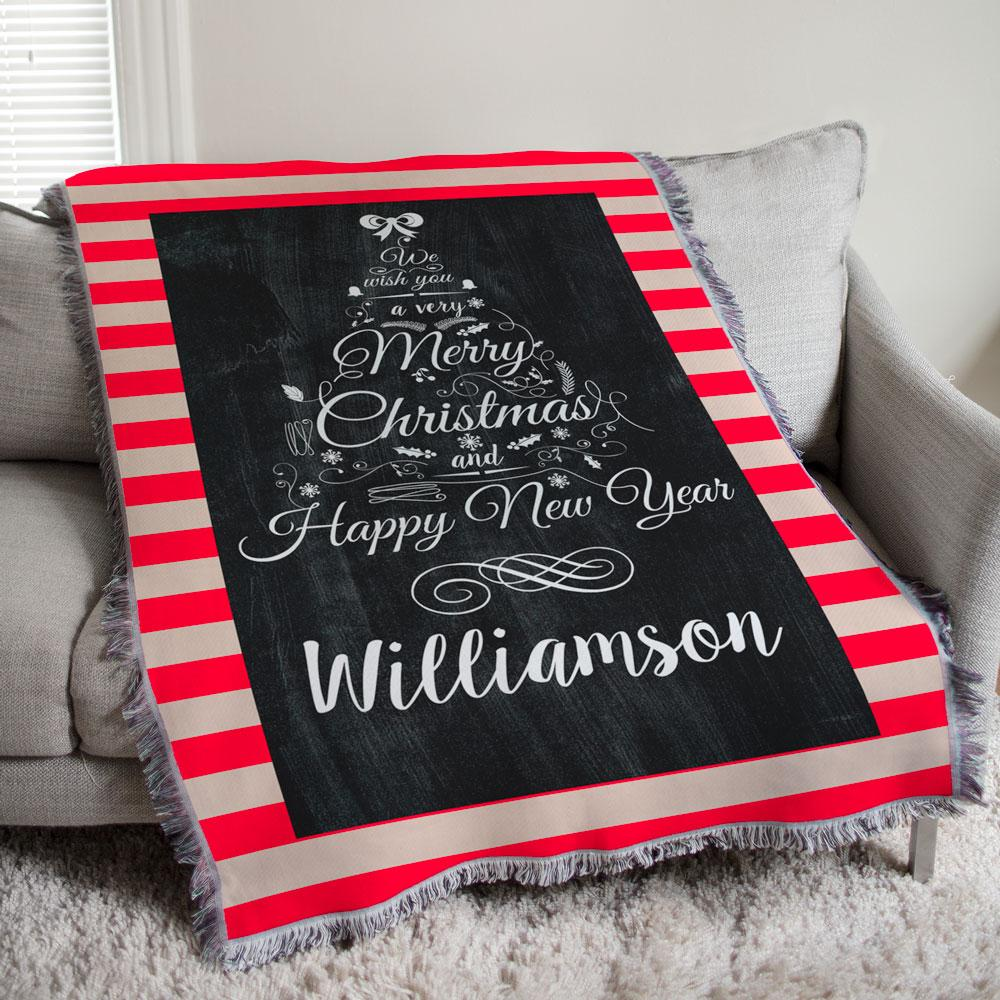 Personalized Chalkboard Christmas Tree Tapestry Throw