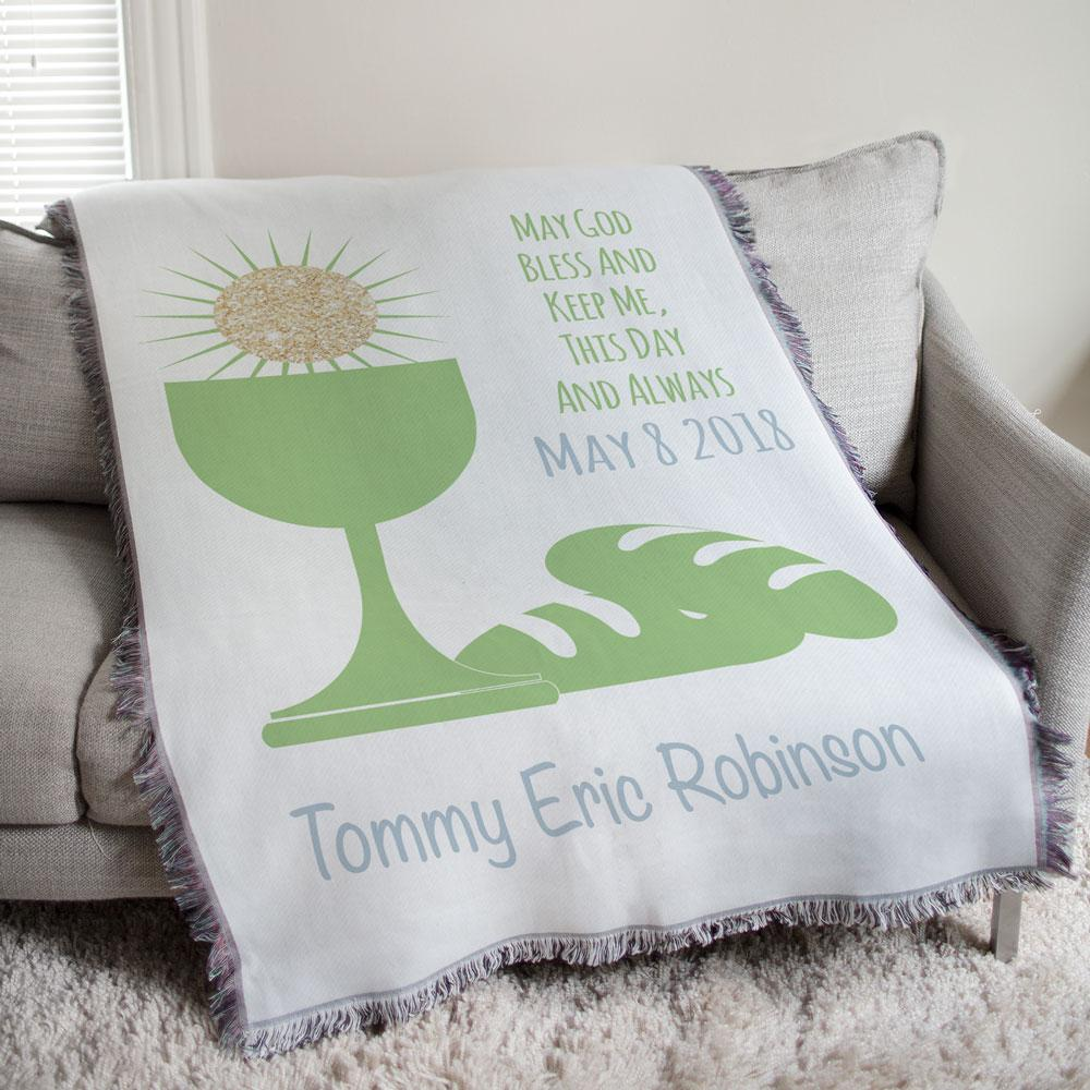 Personalized First Communion Eucharist Green Tapestry Throw