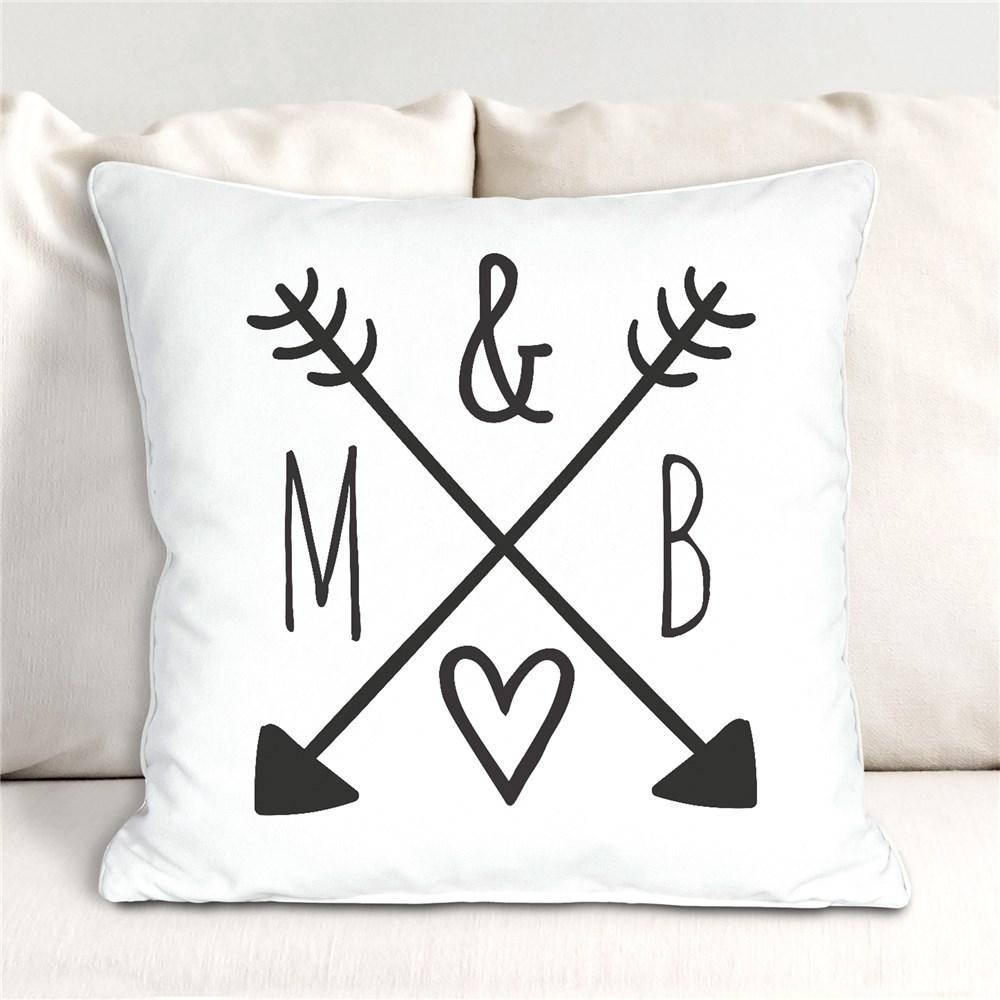 Personalized Arrows & Initials Throw Pillow - Valentine's Day Gift