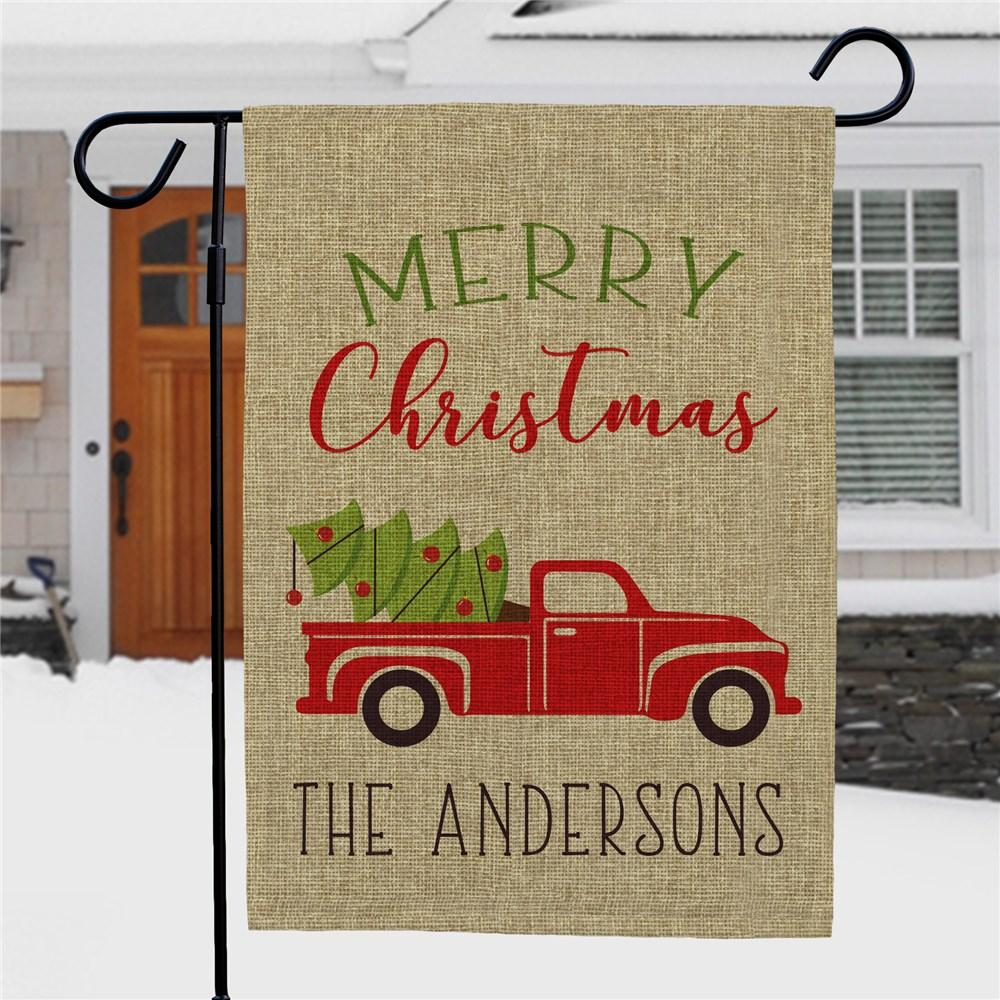 Personalized Merry Christmas Truck Burlap Garden Flag