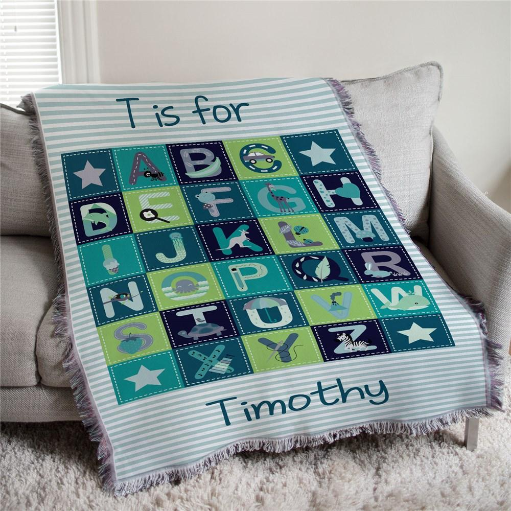 Personalized Baby Boy Alphabet Afghan Throw