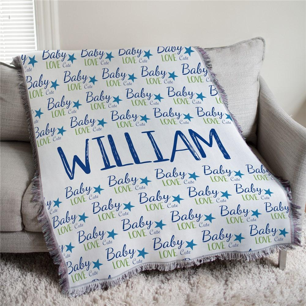 Personalized Baby Boy Words Afghan Throw