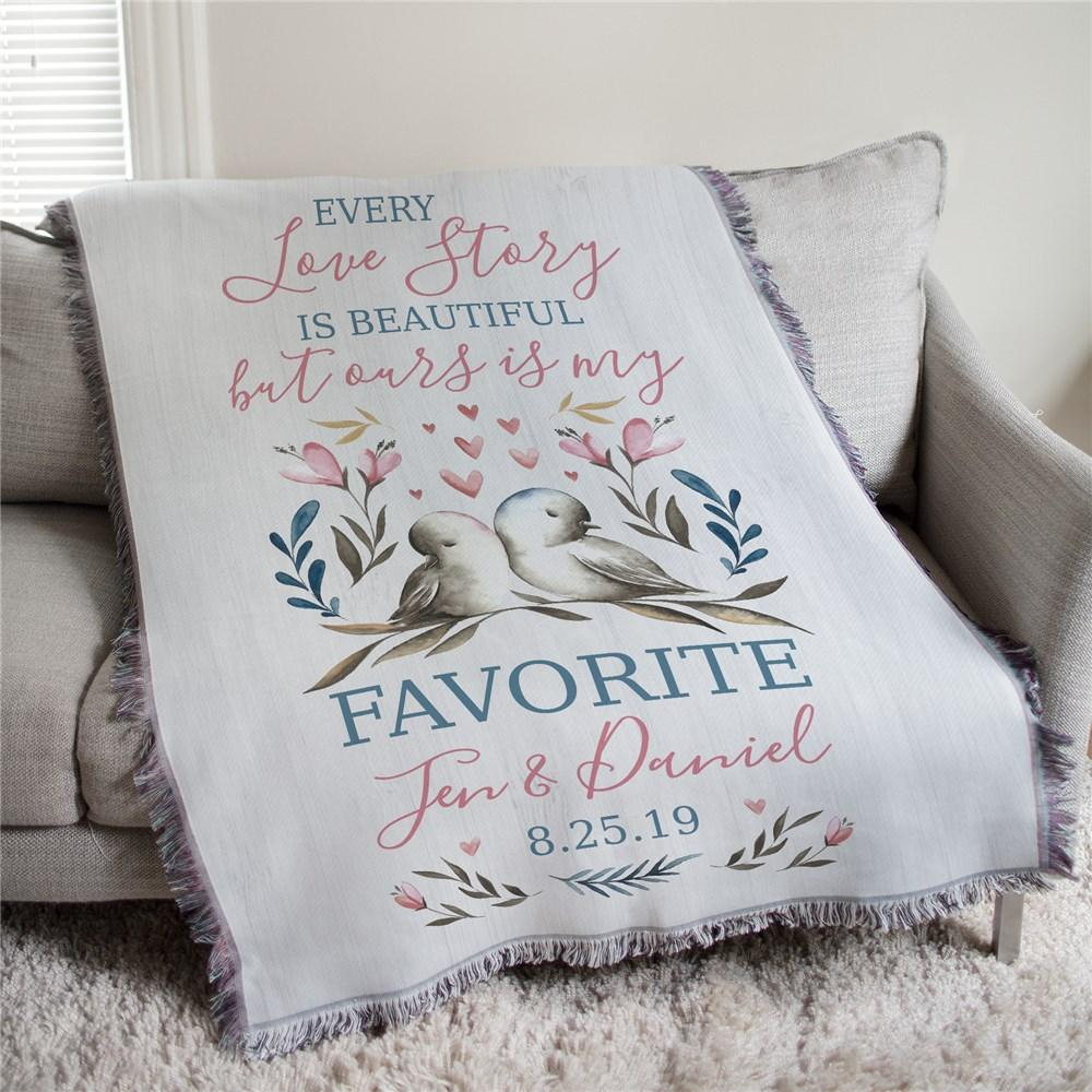 Personalized Every Love story Is Beautiful Afghan Throw