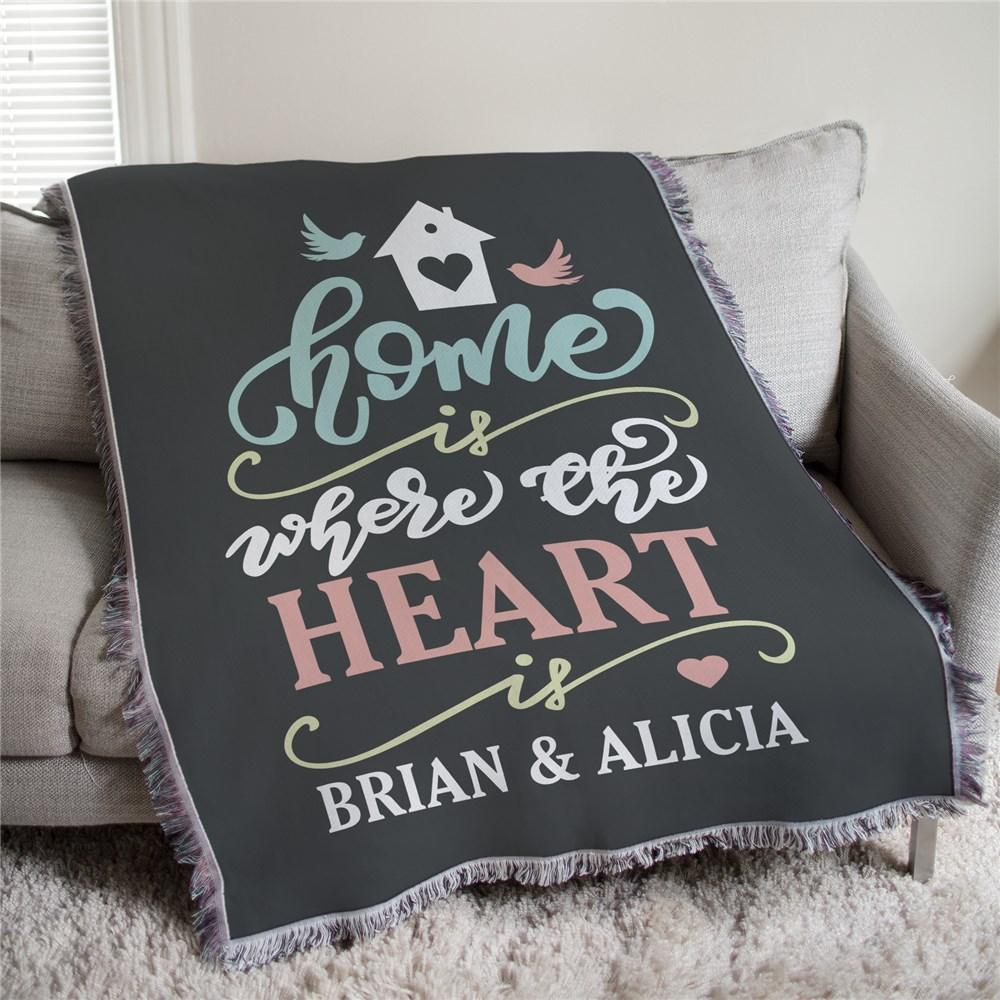 Personalized Home Is Where The Heart Is Afghan Throw