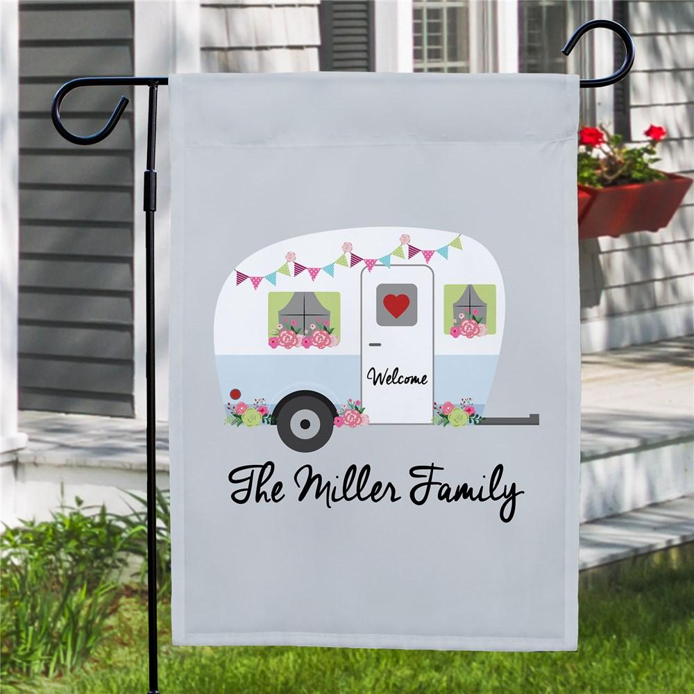 Personalized Floral Family Camper Garden Flag