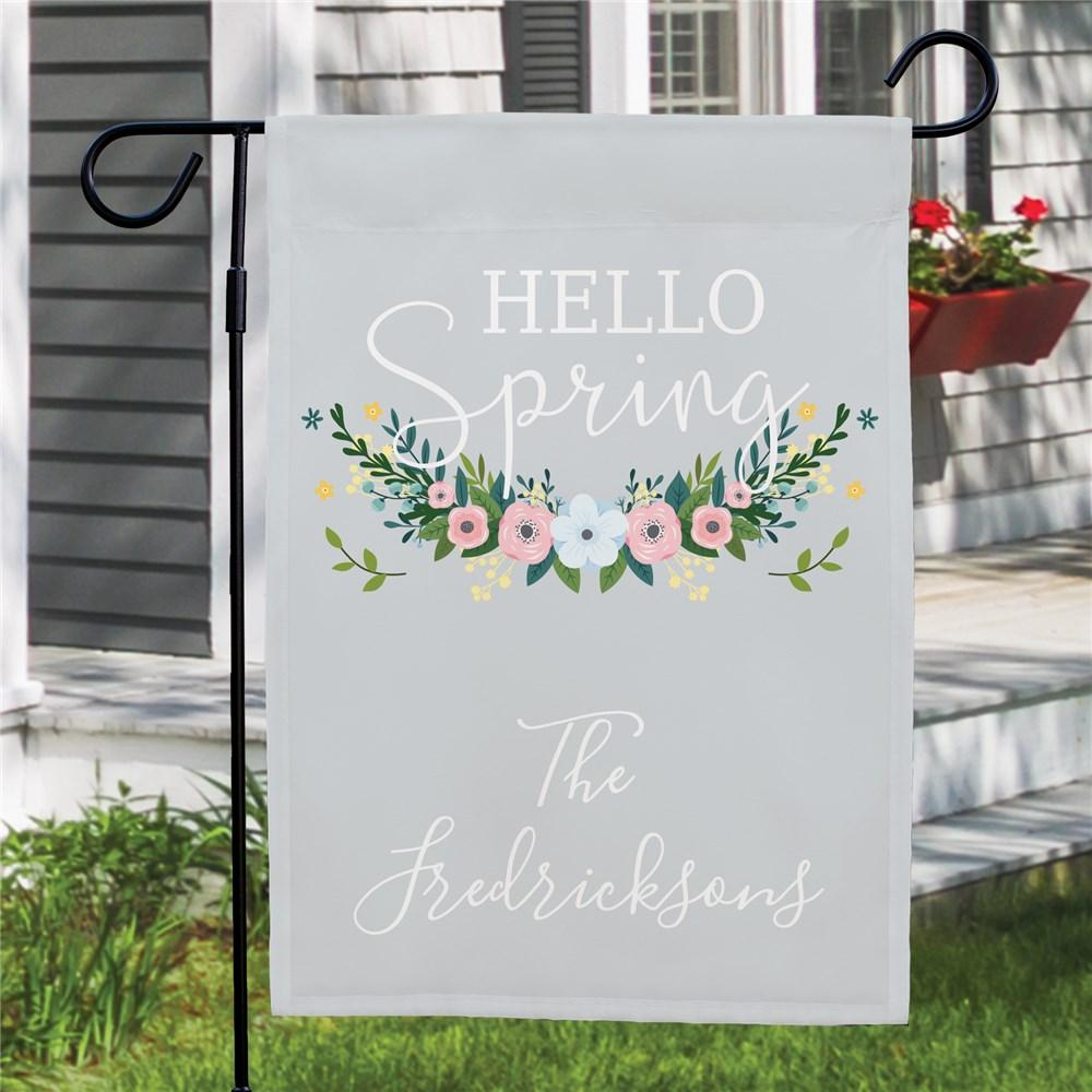 Personalized Hello Spring Garden Flag