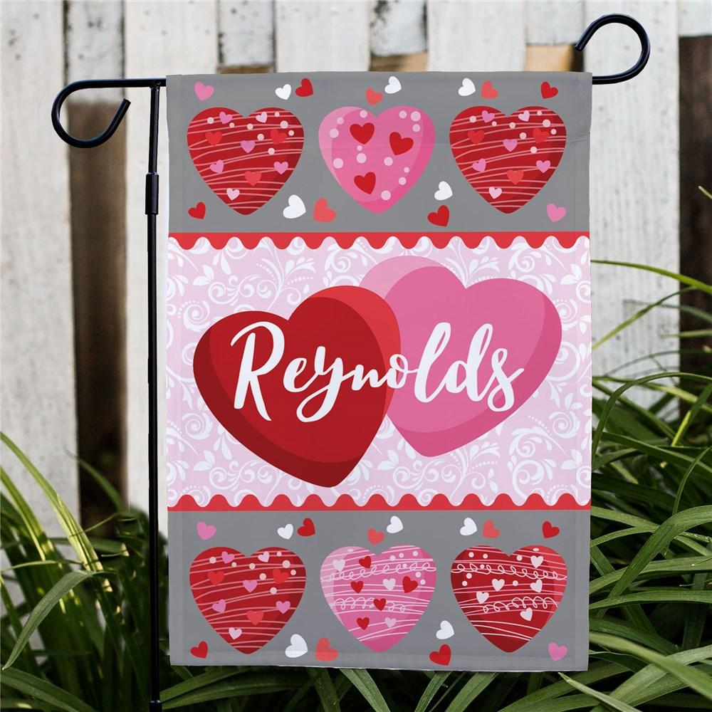 Personalized Family Hearts Garden Flag - Valentine's Day Gift