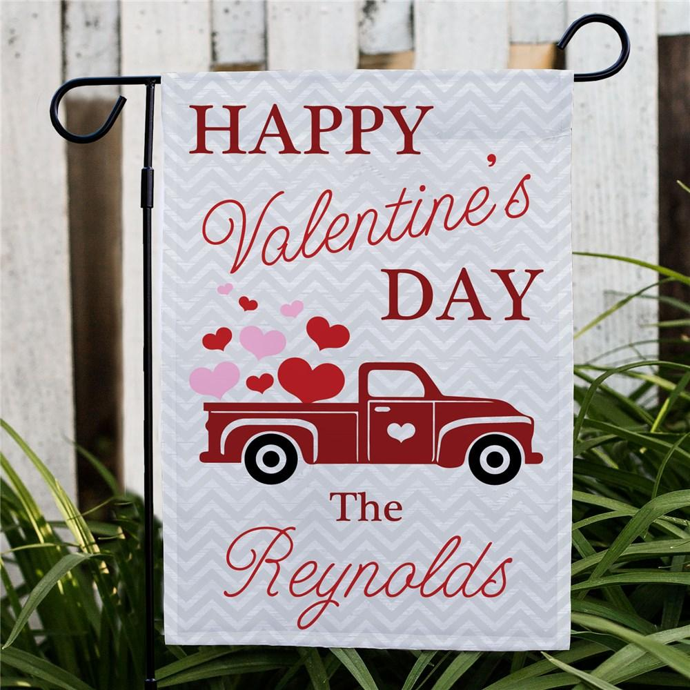 Personalized Happy Valentines Day Truck Garden Flag - Valentine's Day Gift