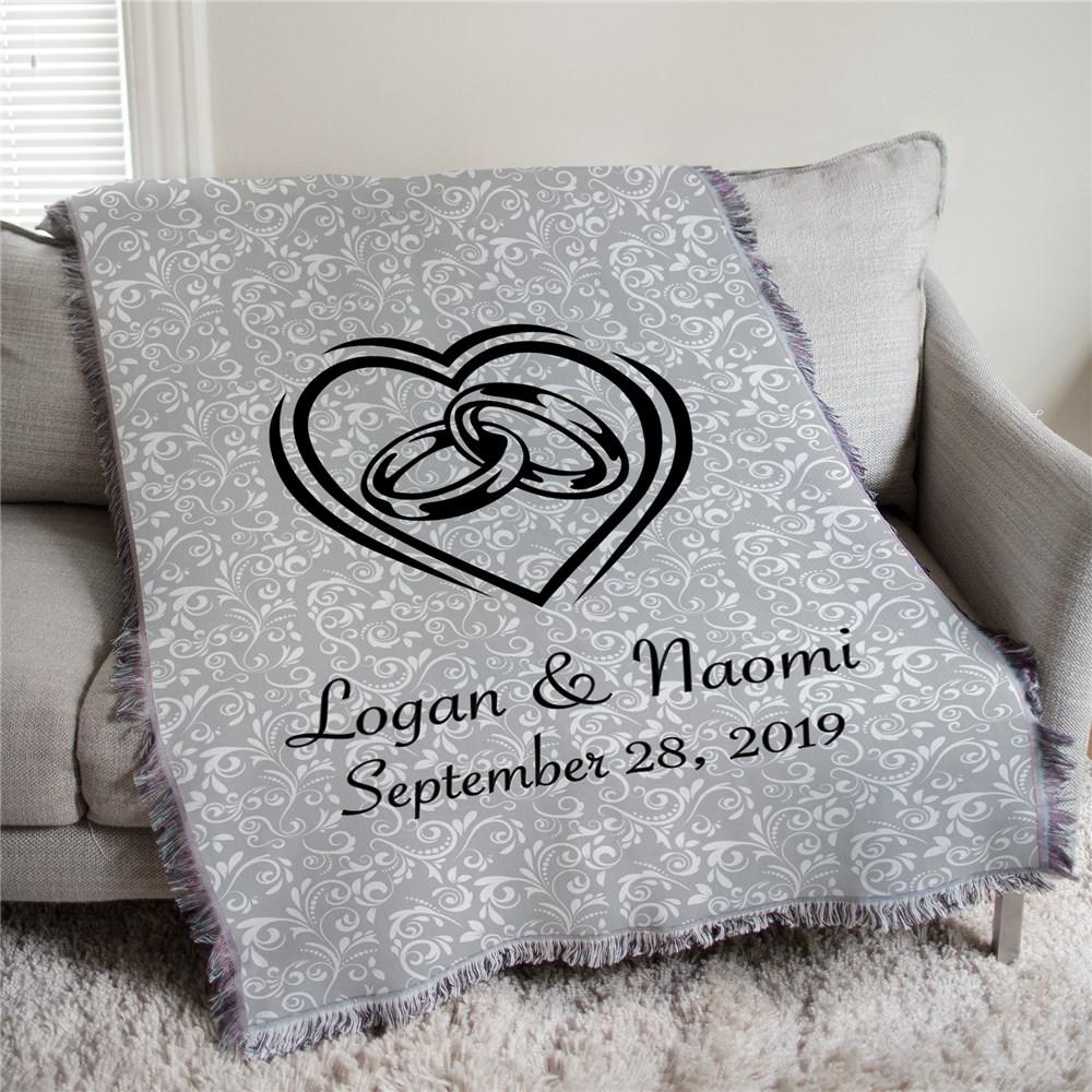 Personalized Heart With Wedding Rings Afghan Throw