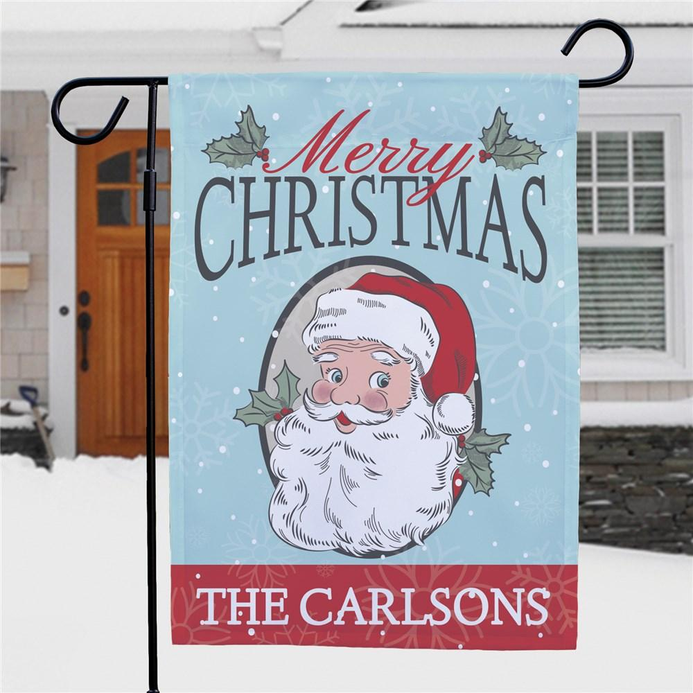 Personalized Merry Christmas Santa With Holly Garden Flag