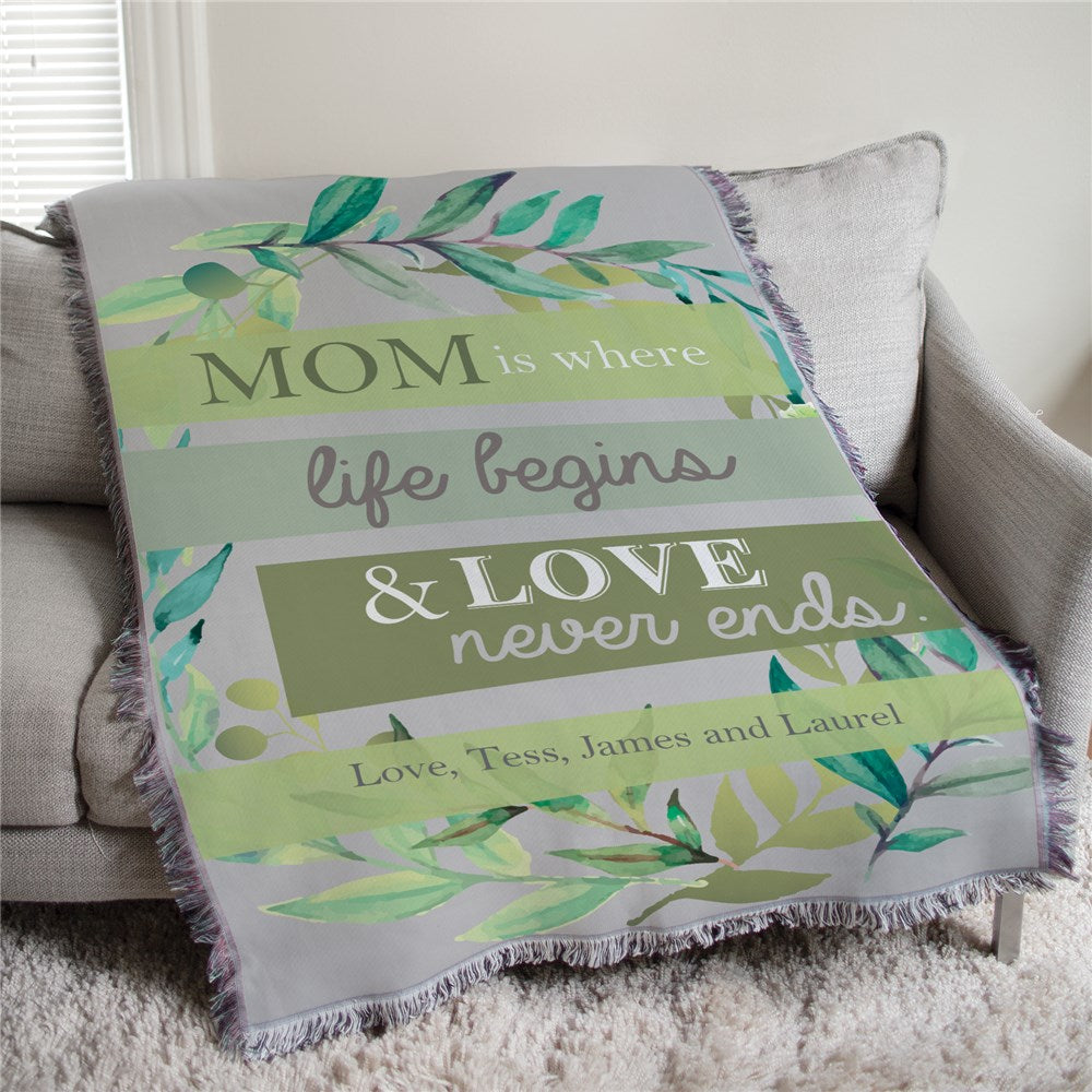 Personalized Mom is Where Life Begins Colorful Floral Personalized Afghan Throw