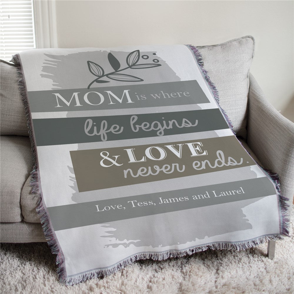 Personalized Mom is Where Life Begins Muted Floral Personalized Afghan Throw