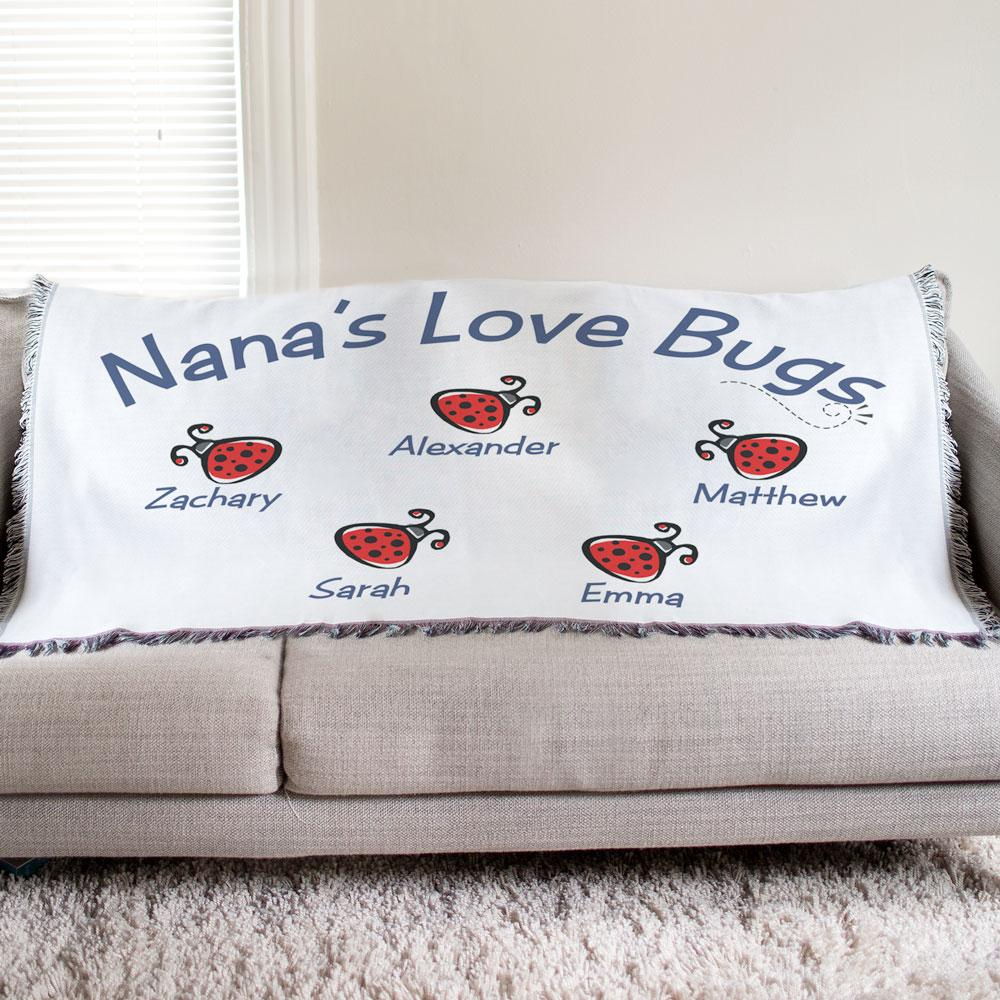 Personalized Love Bugs Tapestry Throw