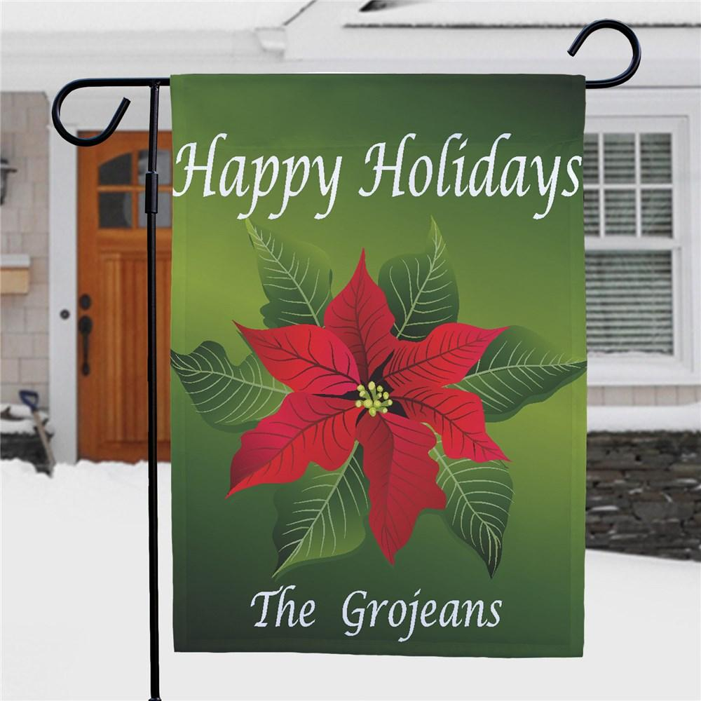Personalized Poinsettia Holiday Garden Flag