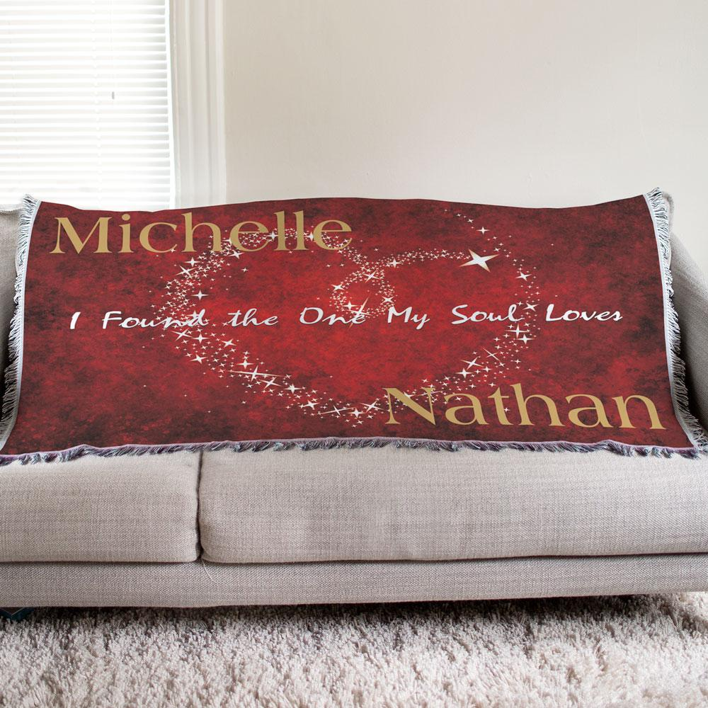 Personalized The One My Soul Loves Tapestry Throw