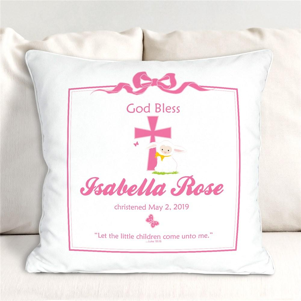 Personalized Pink God Bless Christening Throw Pillow