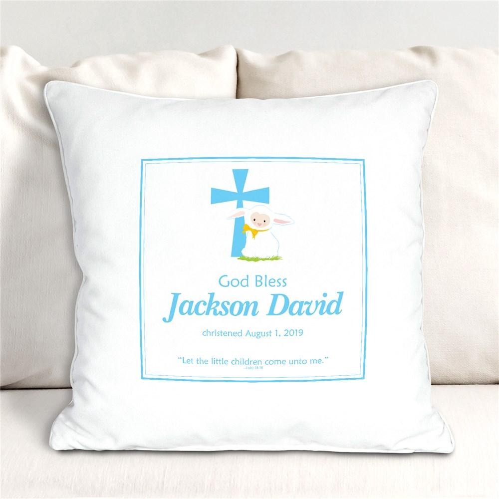 Personalized Blue God Bless Christening Throw Pillow