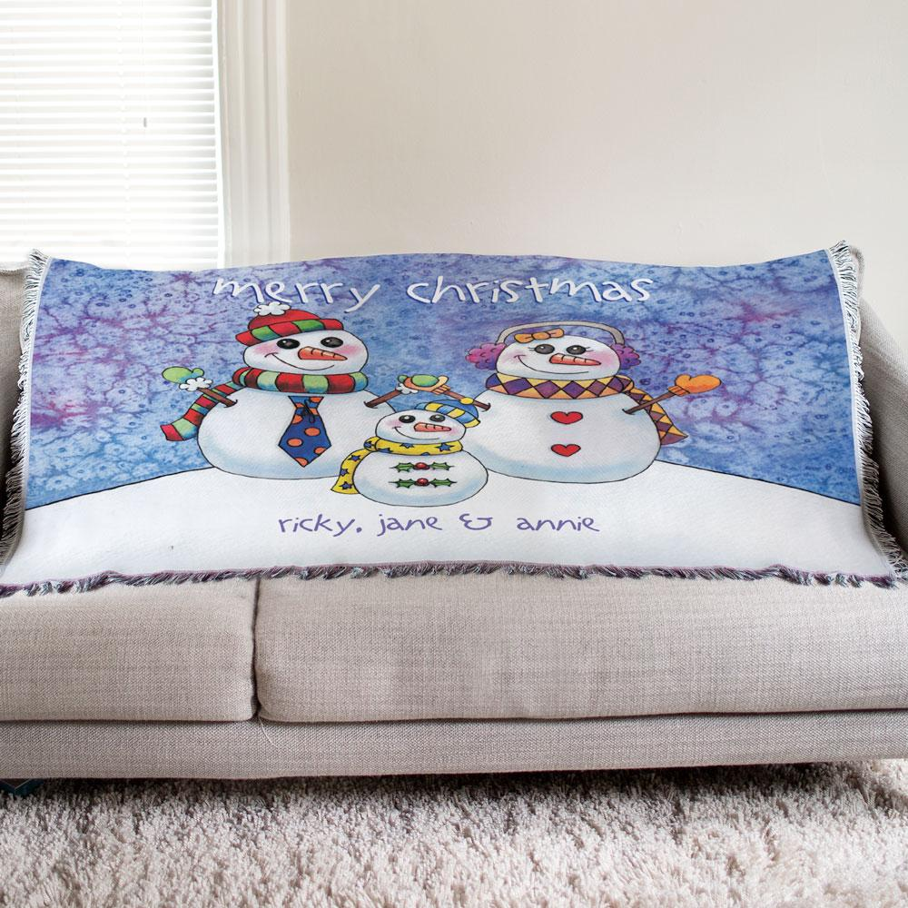 Personalized Snowman Family Tapestry Throw