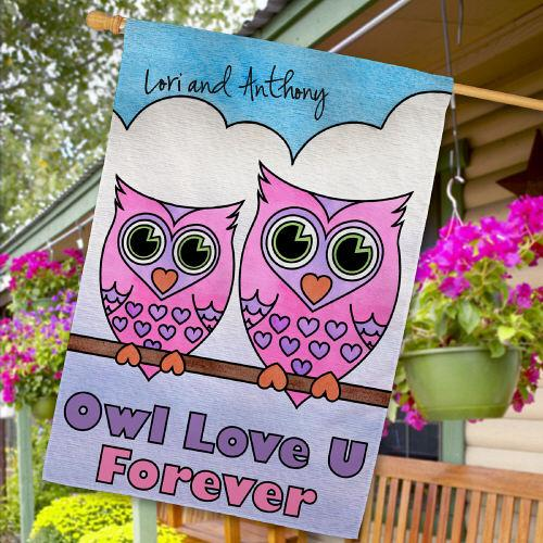 Personalized Owl Love U Forever House Flag - Valentine's Day Gift