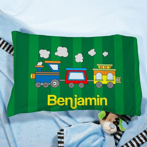 Personalized Choo Choo Train Green Pillow