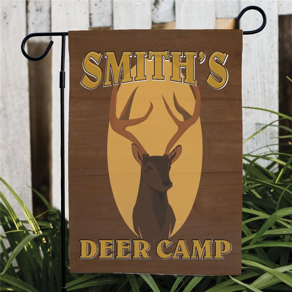 Personalized Deer Camp Garden Flag