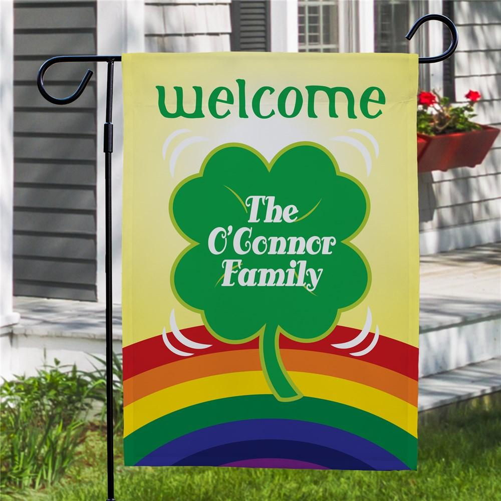 Personalized Lucky Four Leaf Clover Garden Flag