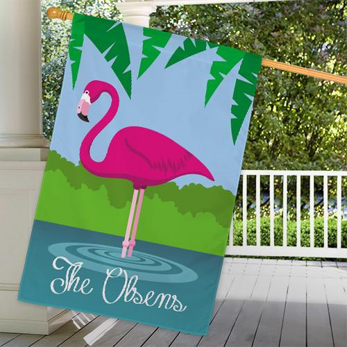 Personalized Pink Flamingo House Flag