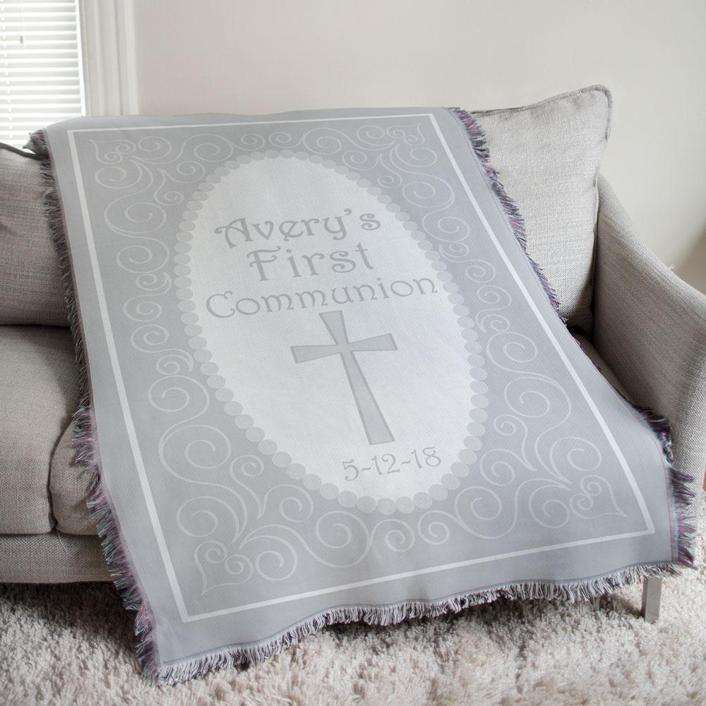 Personalized First Communion Tapestry Throw