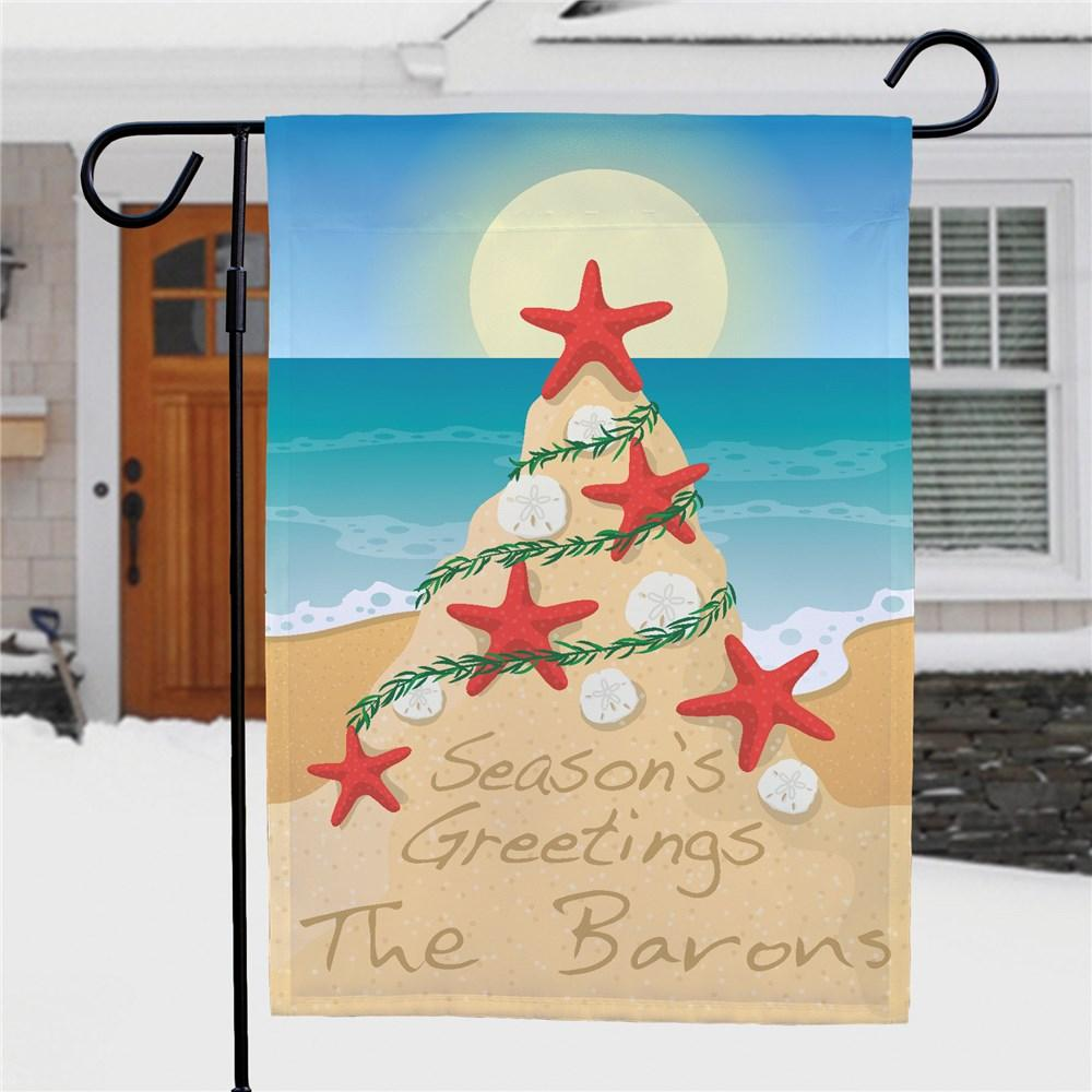 Personalized Beach Christmas Flag