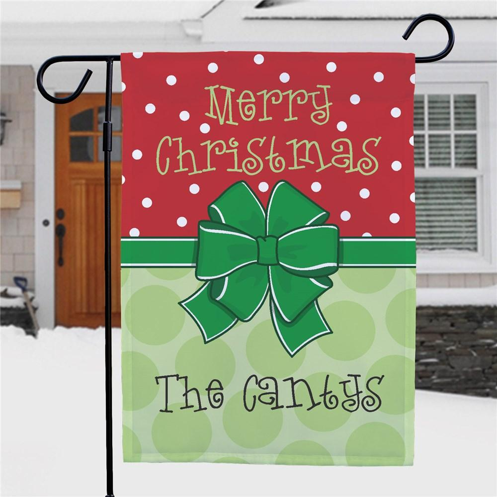 Personalized Bow Christmas Garden Flag