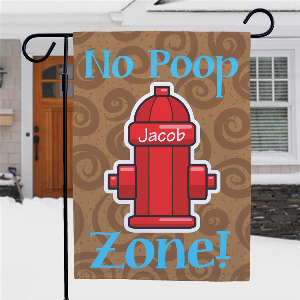 Personalized No Poop Zone Garden Flag