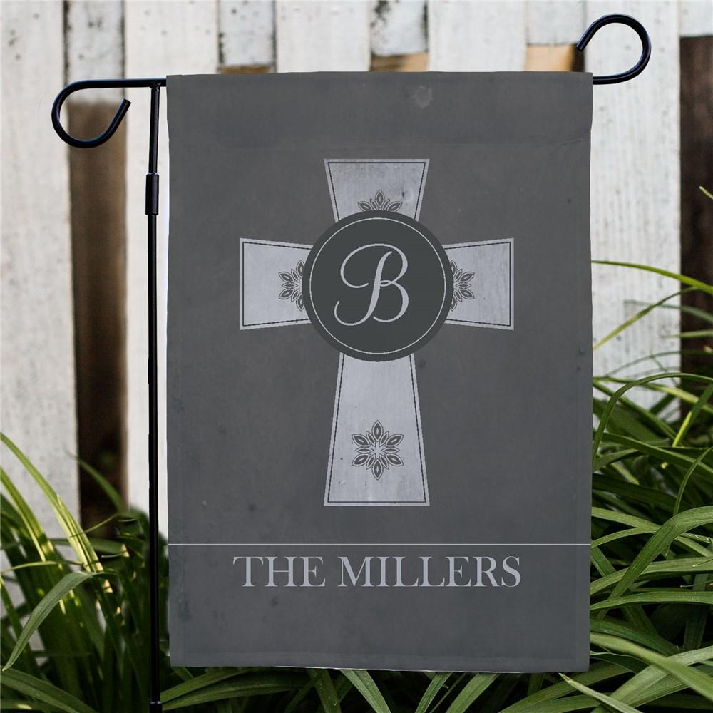 Personalized Family Cross Garden Flag