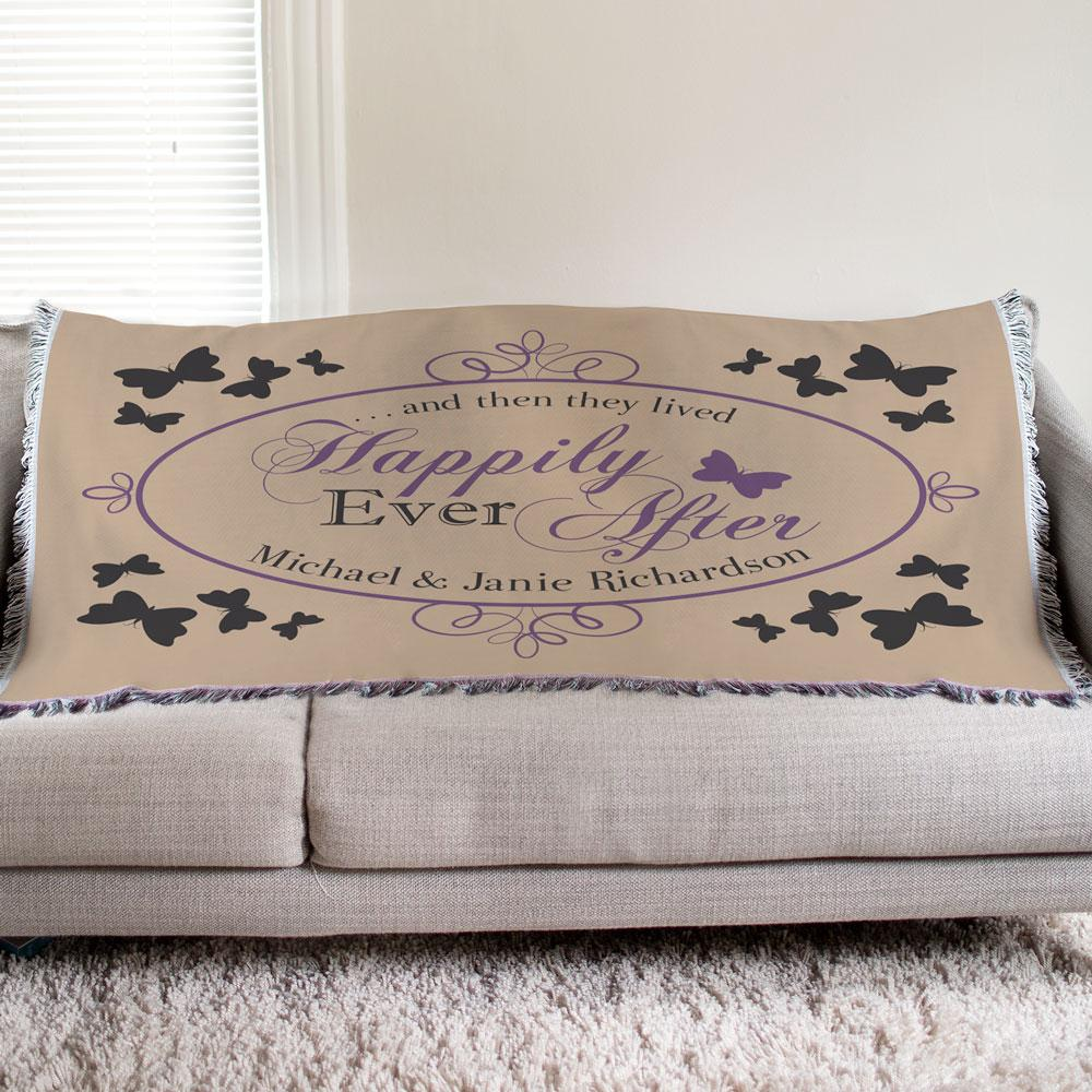 Personalized Butterfly Wedding Tapestry Throw