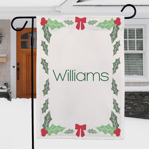 Personalized Holly Leaves & Berries Garden Flag