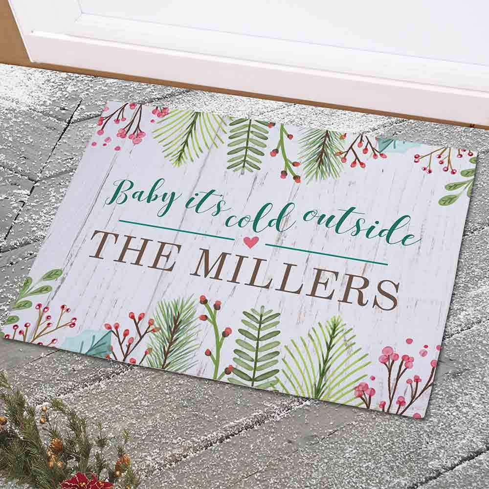 Personalized Baby Its Cold Outside Doormat