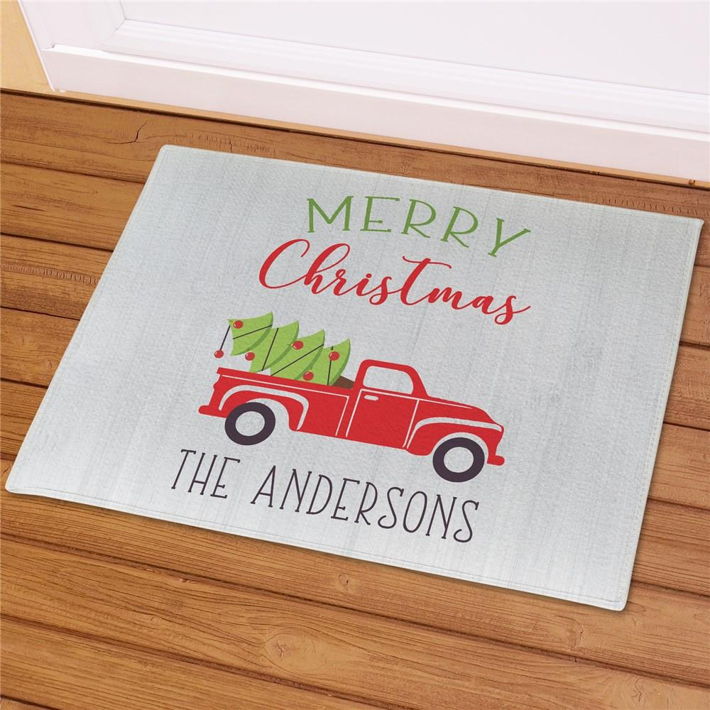 Personalized Merry Christmas Truck Doormat