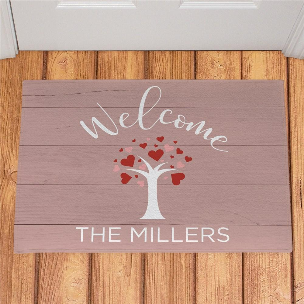 Personalized Welcome Hearts Tree Doormat - Valentine's Day Gift